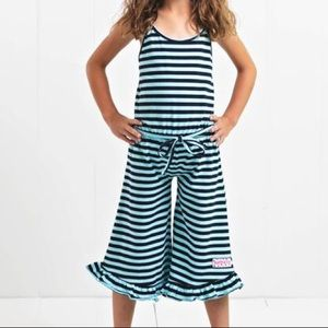 Ruffle Girl Matching Sets - Ruffle Girl Navy Stripe Ruffle Capri Romper